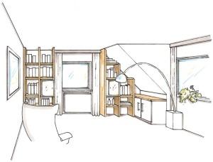 Zeichnung Wohnwand